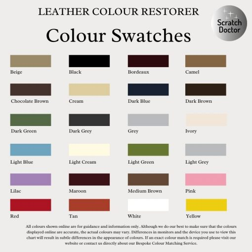 leather colour restorer colour swatches