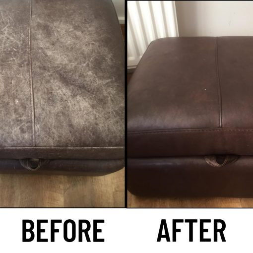 leather colour restorer before and after footstool