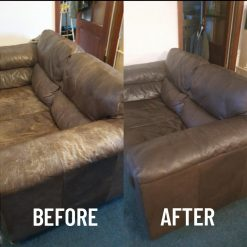leather colour restorer before and after brown sofa