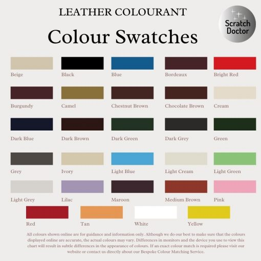 Leather Colourant Colour Swatches